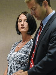 Holly Gonyeau appears in Vermont Superior Court in Middlebury on Monday, Aug. 24.
