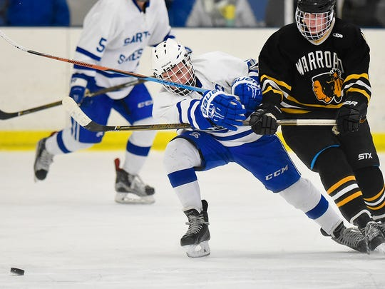 Sartell's William McCabe, left, and Warroad's Hunter