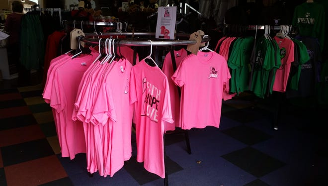 A few of the shirts made for the In The Pink event