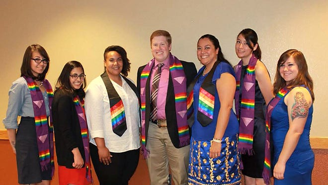 New Mexico State University's LGBT+ Programs hosts the annual Rainbow Graduation Dinner on May 6. Pictured here are graduates honored at a previous ceremony.