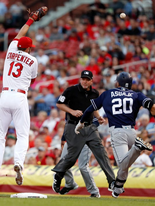 San Diego Padres' Carlos Asuaje (20) is safe at first for a single as the throw goes over the head of St. Louis Cardinals first baseman Matt Carpenter (13) during the first inning of a baseball game Tuesday, Aug. 22, 2017, in St. Louis. (AP Photo/Jeff Roberson)