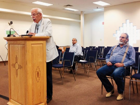 Frank Susman, an attorney from Santa Fe, addresses the Grant County Board of County Commissioners about the possibility of creating an oversight advisory committee for the county detention center, while Bill Hudson, president of the Southwestern Chapter of the ACLU-NM, at right, listens during Thursday's county commission meeting in Silver City. Randal Seyler - Sun-News