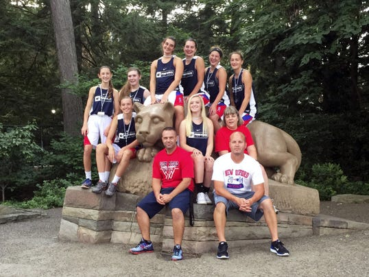 New New Oxford girls' basketball coach Jim Kunkle (bottom center) bonded with his squad on a team trip to Penn State this offseason. The Spring Grove grad is taking over a program that went 17-7 last season.