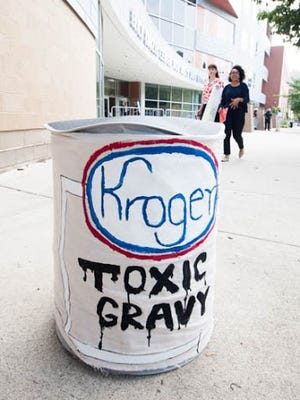 Protesters stood outside a Kroger's shareholding meeting to protest the use of BPA, a controversial chemical used in food packaging.