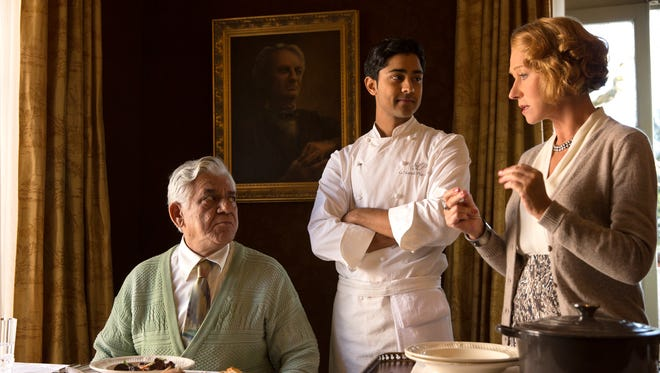 """From left: Om Puri, Manish Dayal and Helen Mirren in """"The Hundred-Foot Journey."""""""