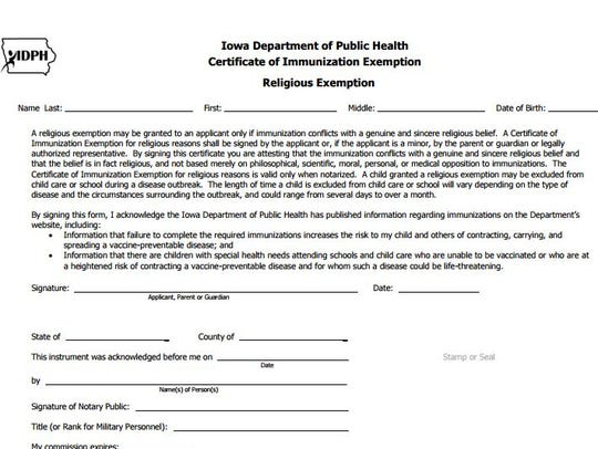 The form Iowa families must fill out to obtain a religious