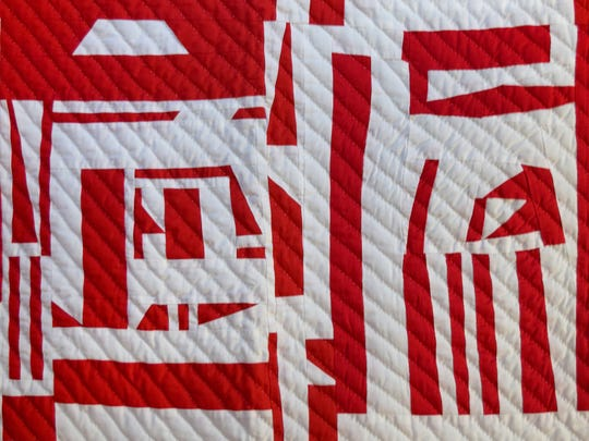 """Mary Ann Pettway, """"Robot at the White House,"""" queen size handmade quilt, Gee's Bend."""