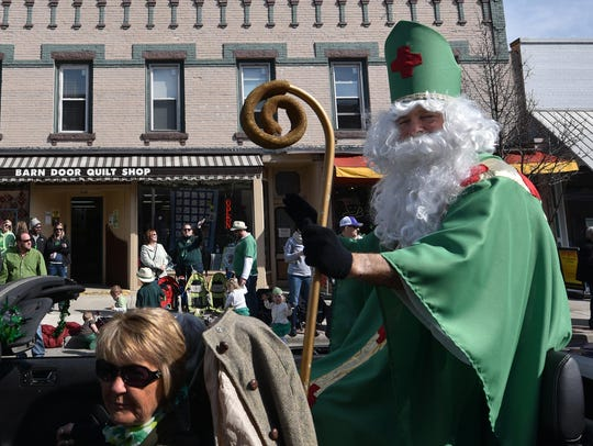 Mike Krauss portrays the legendary man who drove the snakes out of Ireland in a previous St. Patrick's Day Parade in Sturgeon Bay.
