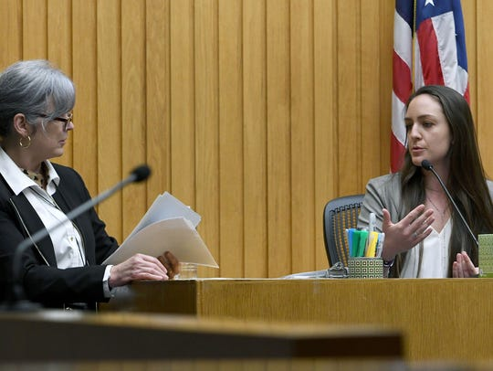 Prosecutor Leslie Nassios questions Anna Lawn about