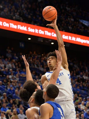 Kentucky Wildcats forward Nick Richards (4) goes up for a shot during the second half of their game against Thomas More, Friday, Oct. 27, 2017 in Lexington Ky. Kentucky won 103-61.