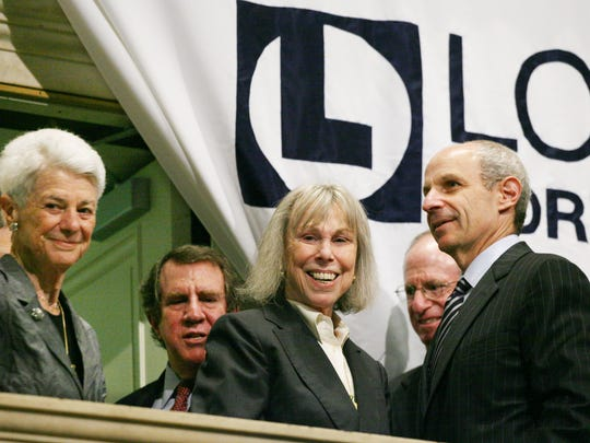 FILE - In this June 23, 2008, file photo, members of the Tisch family, from left, Wilma, Andrew, Joan, James, and Jonathan Tisch, attend the opening bell ceremony at the New York Stock Exchange in New York. Joan Tisch, a noted philanthropist and the widow of former New York Giants co-owner Bob Tisch, has died at 90. The NFL football team said she died Thursday, Nov. 2, 2017, after a brief illness but did not give a cause. (AP Photo/Mark Lennihan, File)