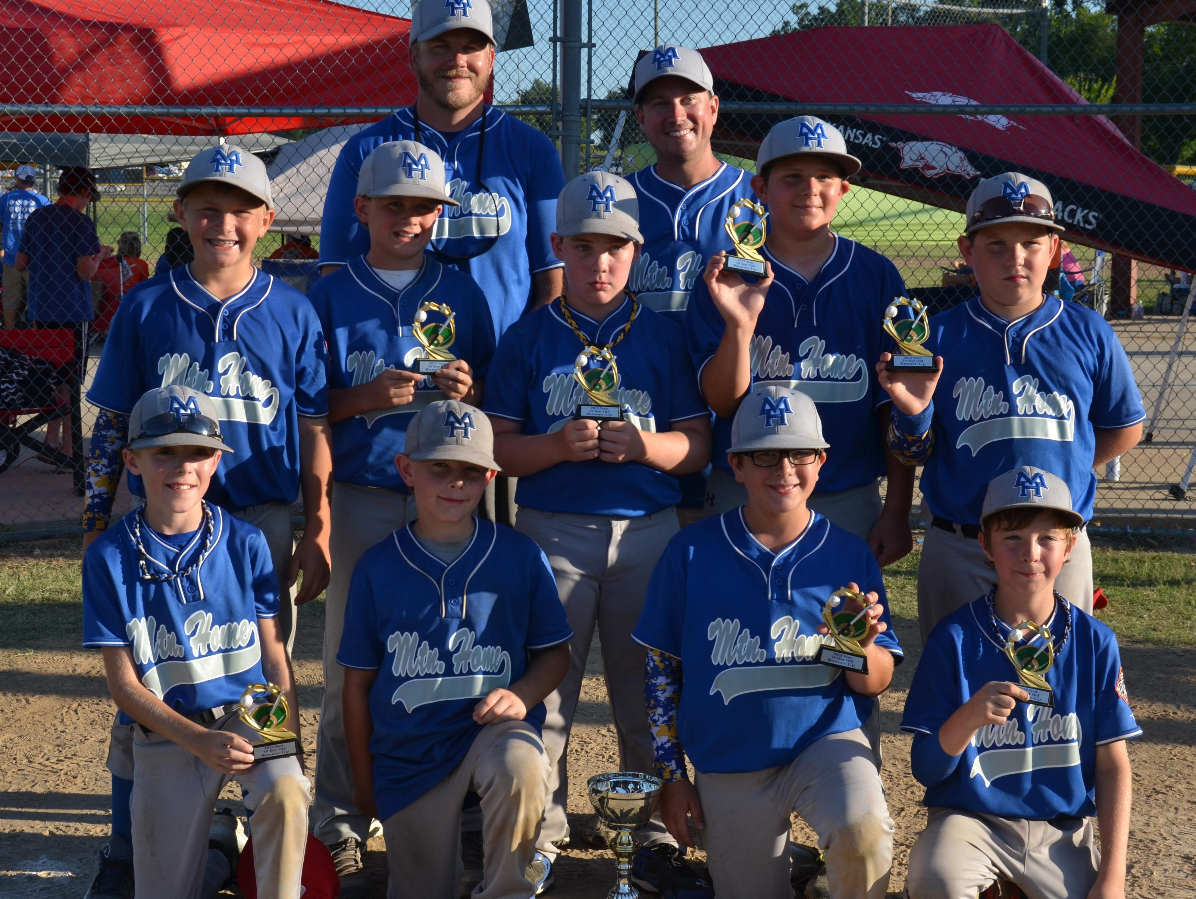 The Mountain Home Elite, a 10-year-old baseball team, competed in the USSSA State Tournament last weekend in Greenwood. Pool play Saturday earned the team a No. 3 seed for bracket play Sunday. After a bye, the Elite beat Conway 9-1 and Salem 7-6. In the championship game, they came up short against Hot Springs, 7-3, but were proud of a runner-up finish in the 12-team field. Team members are: first row, from left, Colton Cooley, Daniel Jones, Christopher Lindenmeyer, Khonner Harmon; second row, Talen Martin, Hagan Robb, Daden House, Colin Beam, Cooper Friend; third row, coaches Ryan Robb and Chad Lindenmeyer. Not pictured are Ty Lawrence, Ethan Bland, Grayden Rowbotham and coaches Earl Blasdel and Eric Rowbotham.