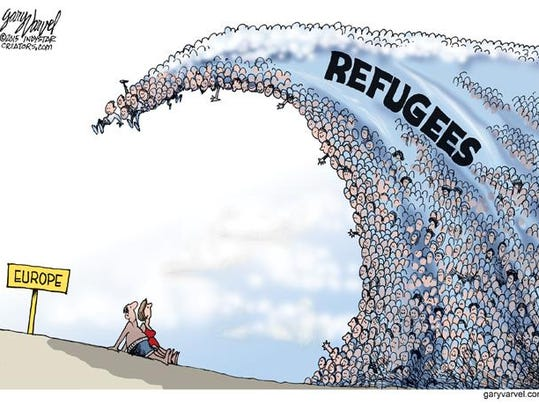 Cartoonist Gary Varvel Waves Of Syrian Refugees In Europe