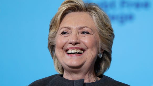 Hillary Clinton smiles during a campaign stop at the
