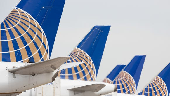 United Airlines planes at Denver International Airport