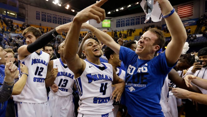 Indiana State guard Brenton Scott (4) celebrates a 72-71 win over Butler in an NCAA college basketball game in Terre Haute, Ind., Wednesday, Dec. 7, 2016. (AP Photo/Michael Conroy)