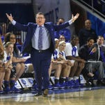 MTSU women's coach Rick Insell coaches against Arkansas State Sunday, March 22, 2015 at MTSU.