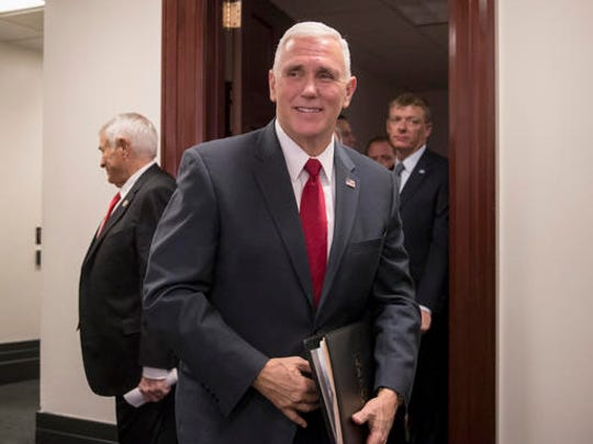 Vice President-elect Mike Pence leaves a closed-door meeting with the House Republican caucus on Capitol Hill in Washington, Wednesday, Jan. 4, 2017. Pence promised repeal of President Obama's health care law now that the GOP is in charge of White House and Congress. (AP Photo/J. Scott Applewhite)