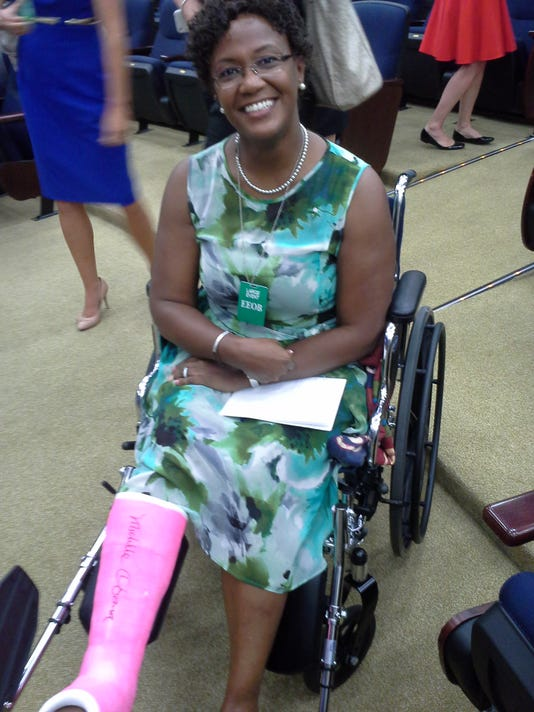 Mayor Kim Bracey's cast was signed by First Lady Michelle Obama during a celebration of Let's Move! cities at the White House.