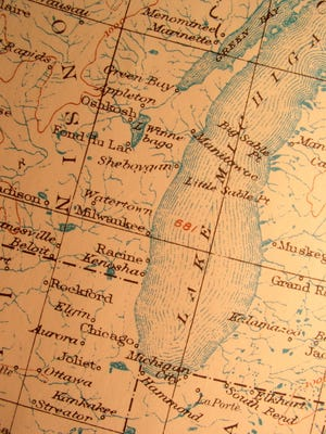 Antique map, American Lake Michigan.