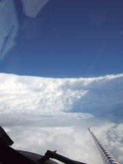 The eye wall of Hurricane Katrina was taken on Aug,