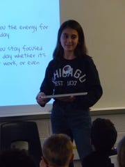 Jenna Salhab presents to a Gill Elementary School classroom about sleep deprivation.