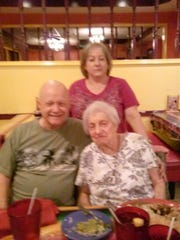 Copy photo of Bob MacNish (shown L,) with his birth mother Jean (age 95) and his half-sister Sheila when they met each other for the first time onJuly 2017 in Texas.
