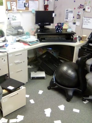 A provided photo of a ransacked desk in the WCSD Central Reno Family Resource Center, which was vandalized and burglarized Monday night.