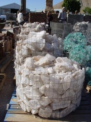 Mica and other white minerals are sold in bulk locally at Whitewater Rock & Supply Co. on Interstate 10, just west of Palm Springs.