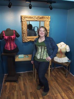 Jennifer Thoresen models one of her corsets.