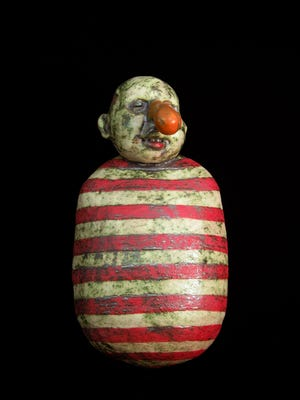"""Tom Bargel's """"Red & White Figure,"""" an earthenware clay body, is part of Galerie Hertz's """"Of & About Clay and Painting."""""""