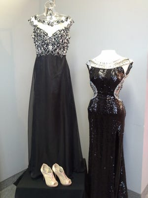 High necklines are in this year for prom, too. The dress on the left is an example of an illusion neckline.