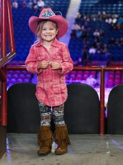 Blake Walts, 4, dressed up in her western wear for the 2nd performance of the San Angelo Stock Show and Rodeo Saturday, Feb. 3, 2018, at Foster Communications Coliseum.