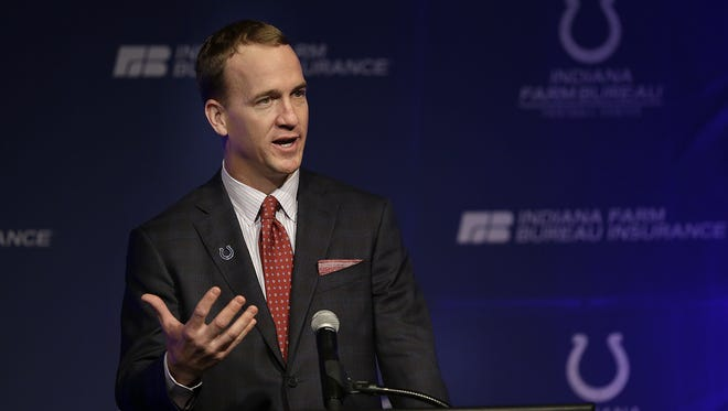 Former Indianapolis Colts Peyton Manning talks to the Colts staff and members of the media during a press conference Friday, March 18, 2016, at the Colts complex.