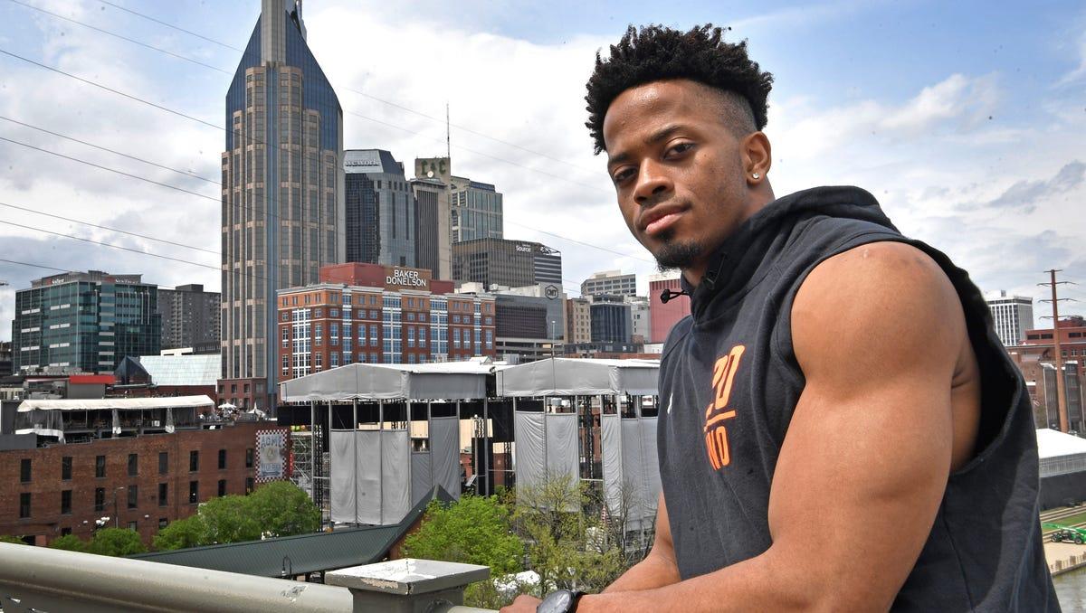 NFL Draft prospect Emanuel Hall -- a hometown player from Centennial High Thursday, April 18, 2019, in Nashville, Tenn.