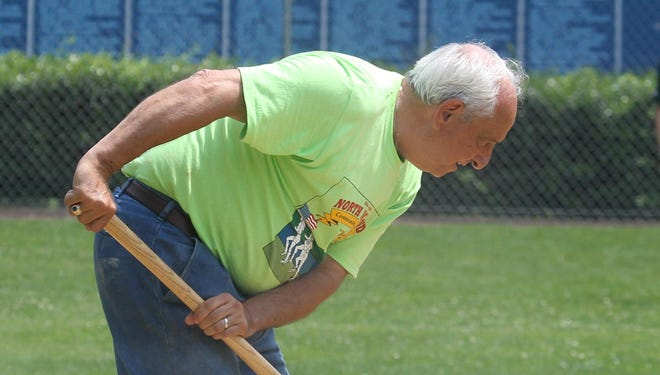 Vincent Gamboli prepares the field between games of the Tournament of Champions at Haverstraw Little League's Leo Laders Post 130 American Legion Field June 16, 2011.