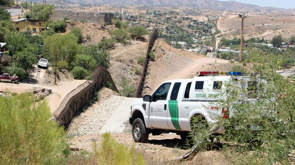 U.S. Border Patrol truck  along the US-Mexico border in Nogales, Ariz.