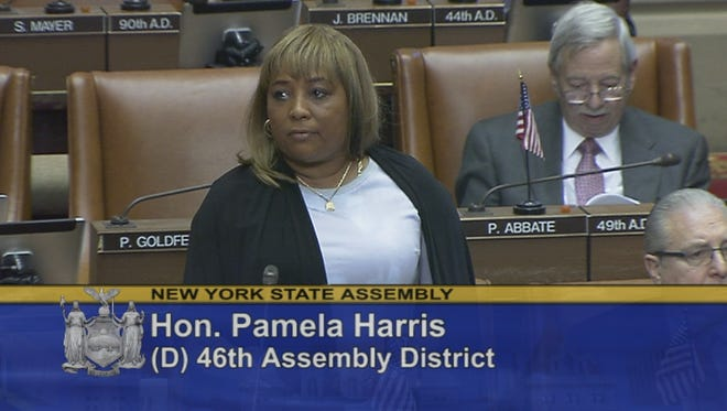 Assemblywoman Pamela Harris, D-Brooklyn, speaks during a debate in the state Assembly chamber at the Capitol in Albany.