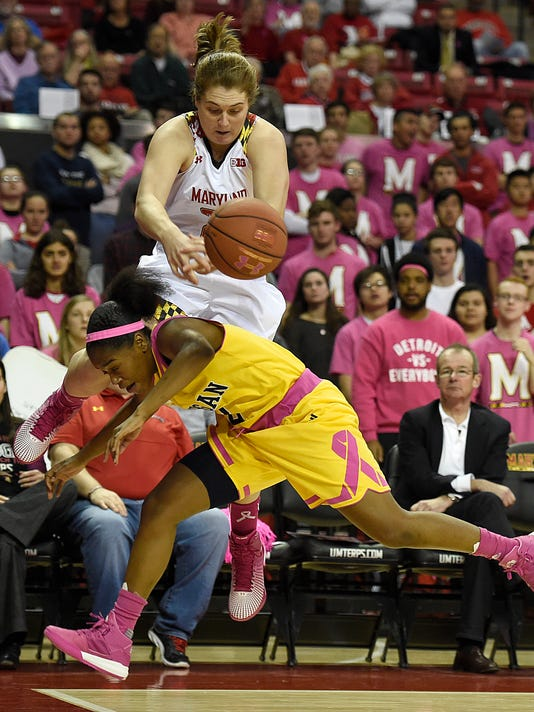 Maryland's Tierney Pfirman, back, is upended by Michigan's Siera Thompson as they chase a loose ball during the first half of an NCAA college basketball game, Wednesday, Feb. 17, 2016, in College Park, Md. Maryland won 76-56. (AP Photo/Gail Burton)