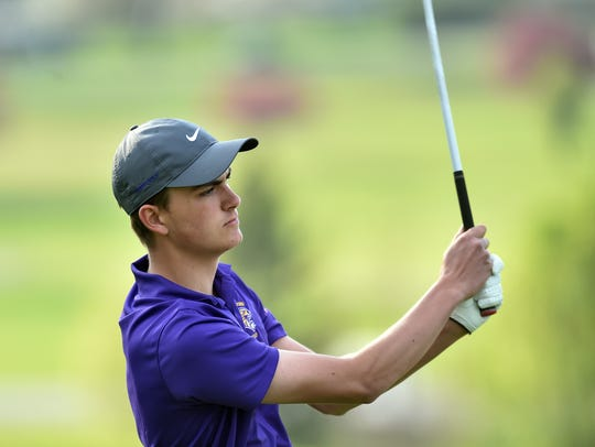 Hagerstown's Carson Orr follows his shot while playing