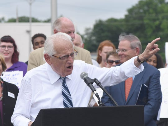 "Congressman Bill Pascrell speaks at the Toys ""R"" Us"