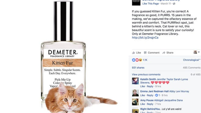 Demeter Fragrance Library says whether you are a cat lover or not, this scent is sure to satisfy your curiosity.