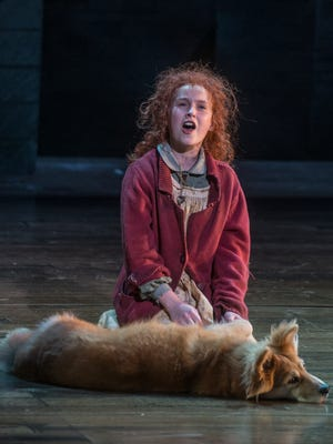 Vivian Poe sings as the title character in Annie, with Marti as her dog Sandy, at the Alabama Shakespeare Festival. Annie rehearsal Sunday, July 1, 2018, at Alabama Shakespeare Festival.