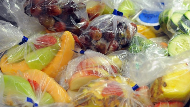 Here is a sample of healthy foods offered for students at Fishers High School. More fresh fruits and vegetables are available.