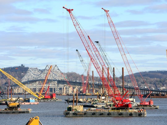 Construction under way at the Tappan Zee Bridge as seen from Rockland Dec. 29, 2014.