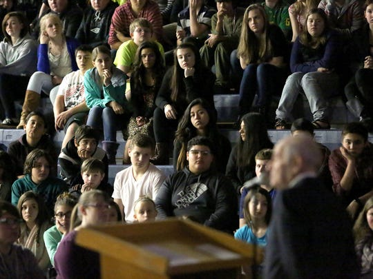 Holocaust survivor Alter Wiener, who died in 2018, speaks at Crossler Middle School on Friday, Feb. 13, 2015, in Salem, Ore. More than 700 students attended the discussion as he shared the story of his life after the German invasion of Poland in 1939.