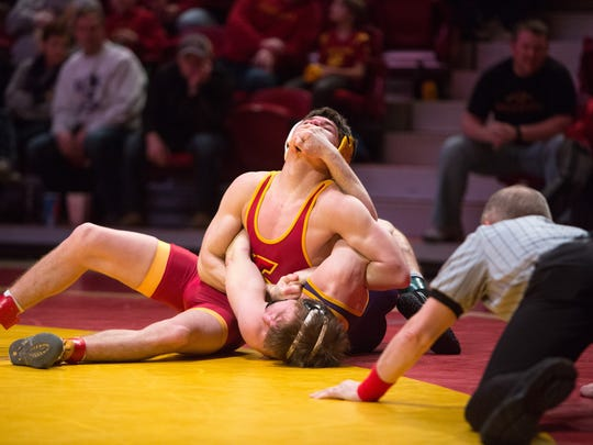 Iowa State University's Dante Rodriguez tries to pin