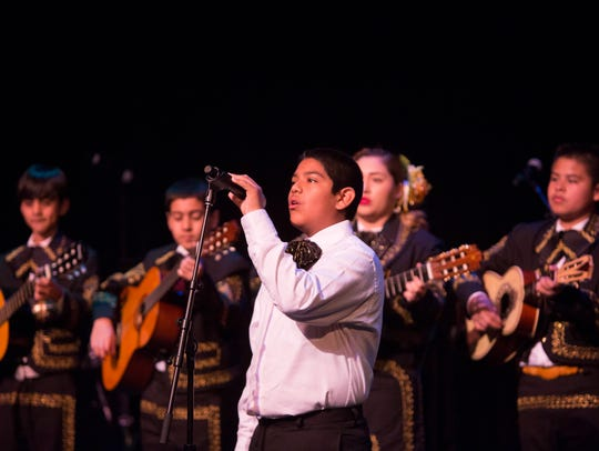 The Mariachi Juvenil de Mi Tierra performs during the