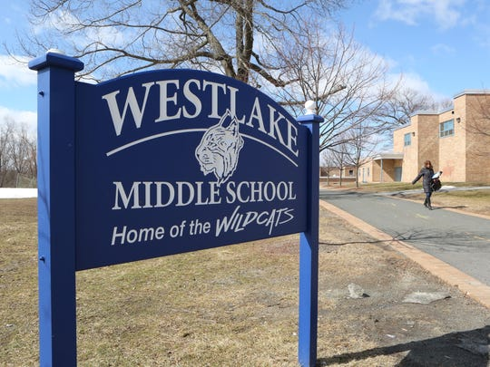A long pedestrian walkway that leads to the Westlake Middle School in Thornwood, photographed March 18, 2015. A vote is scheduled on bonds to fix up parts of the middle and high schools.