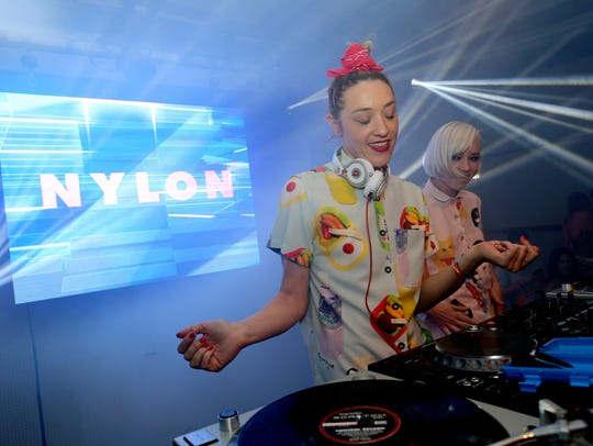 DJ Mia Moretti and Margot of The Dolls perform at the NYLON Midnight Garden Party at a private residence on April 10, 2015 in Bermuda Dunes, Calif.